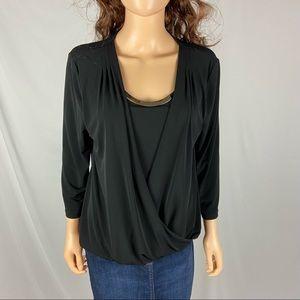 Calvin Klein Black Silver 3/4 Sleeve Top